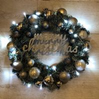 Christmas Spruce Wreath Silver Bauble Fairy Lights Front Door Wall Decoration